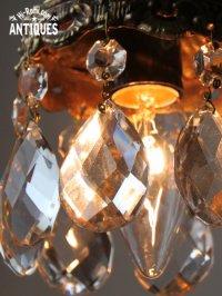 画像3: USAヴィンテージガラス製ダブルカットプリズムミニシャンデリア/アンティークランプ
