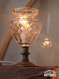 画像1: ヴィンテージカットガラスミニテーブルライトA|卓上照明カフェランプ