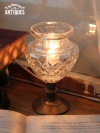 画像1: ヴィンテージカットガラスミニテーブルライトB|卓上照明カフェランプ