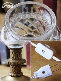画像3: ヴィンテージカットガラスミニテーブルライトB|卓上照明カフェランプ