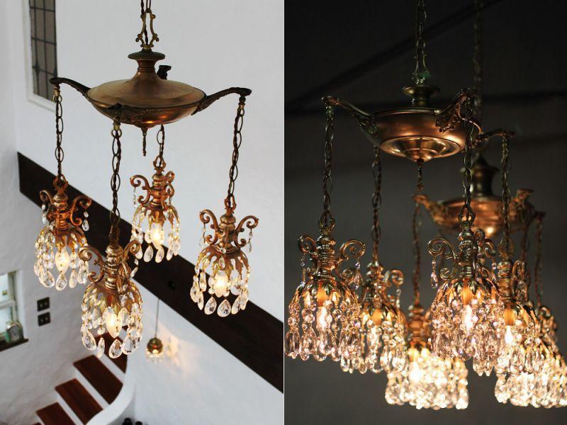ヴィンテージプリズムシャンデリア天井照明|アメリカン