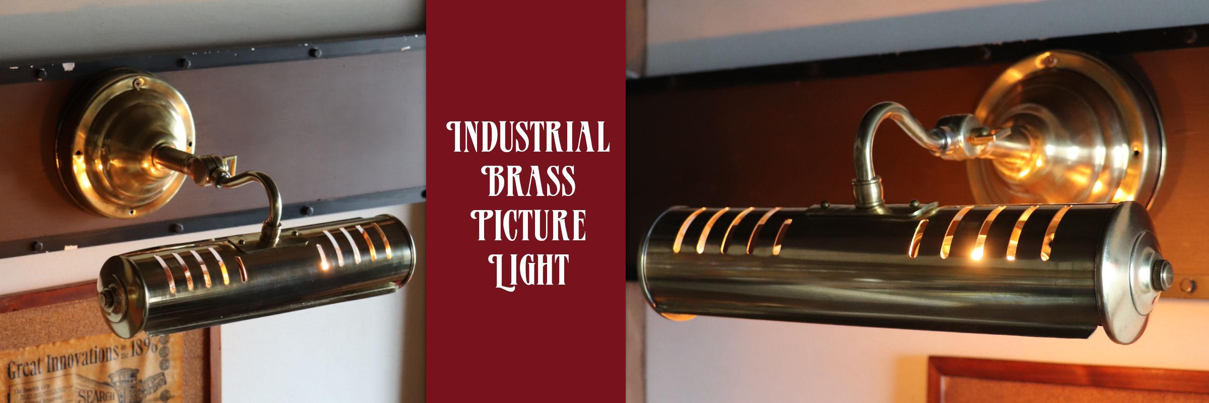 真鍮製2灯式ピクチャーライト インダストリアル工業系壁掛け照明ブラケットライト