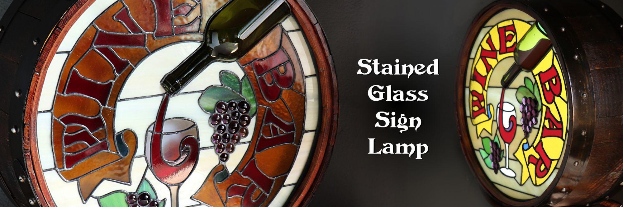 ステンドグラス看板照明ワインバー WINE BAR Stained Glass Sign Lamp