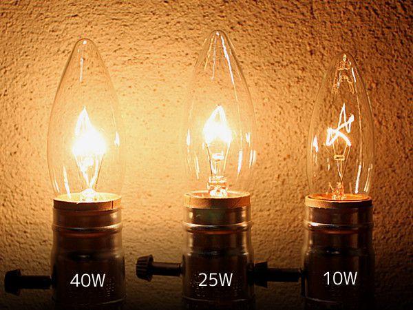 ワット数によって異なる電球の光量