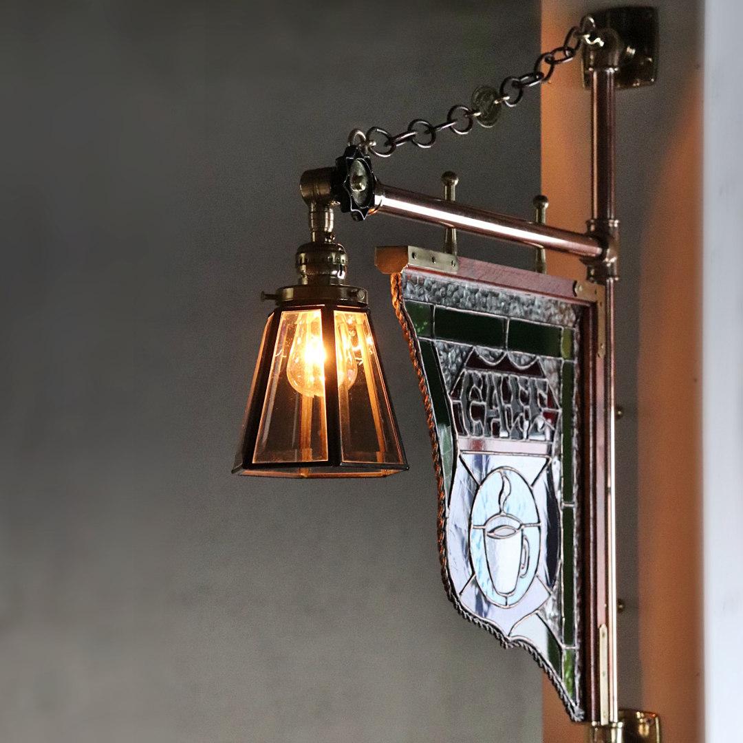 ステンドグラスCAFEカフェサイン屋内看板照明ライト
