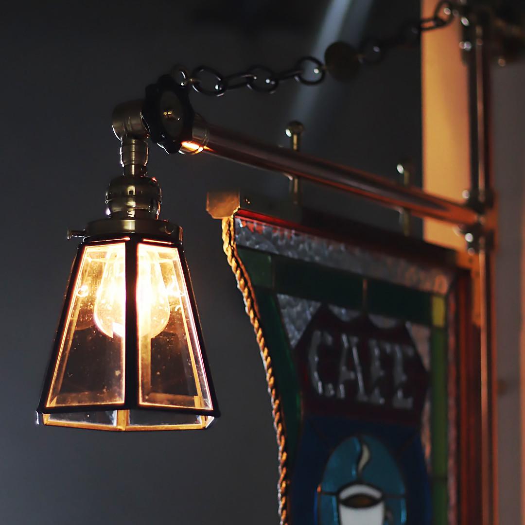 ステンドグラスCAFEカフェサイン屋内看板照明|vintage stained glass sign light