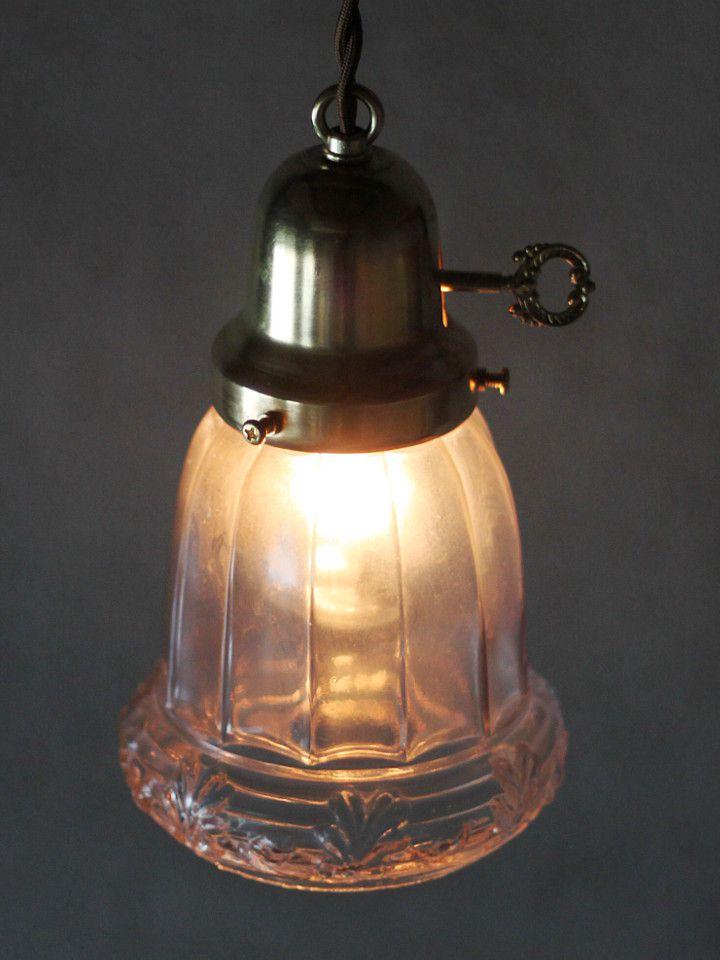 ヴィンテージガラスシェード付ペンダントライト|アンティーク吊下げ照明