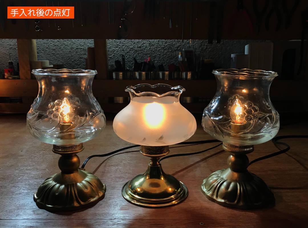 アンティーク照明の修理リペア風景|テーブルライト卓上照明